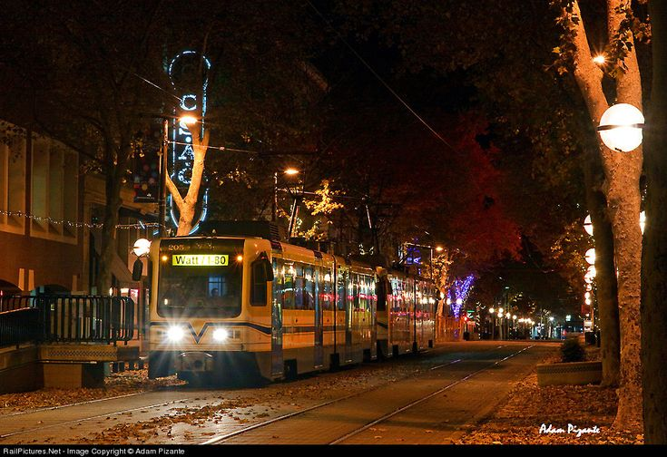 On a chilly November night, this Sacramento Light Rail train is picking up a few riders at the K Street Mall in festive downtown Sacramento....
