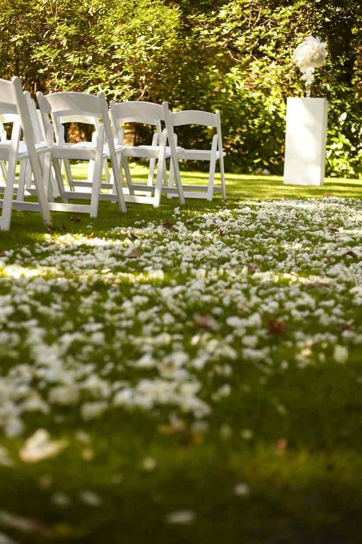 Fairytale Wedding Real Wedding. A perfect garden ceremony! Romantic rose petal aisle flanked by Finesse white chairs set in the Tulip Tree Lawn at Milton Park Country House, Bowral. Event Hire: Your Event Solution | YES ~ Photography: Blumenthal Photography ~ Reception Venue: Baillieu Ballroom – Milton Park Country House ~ Flowers: Affair With George ~ Cake: I Do Cakes. Source: Modern Weddings. #YourEventSolution