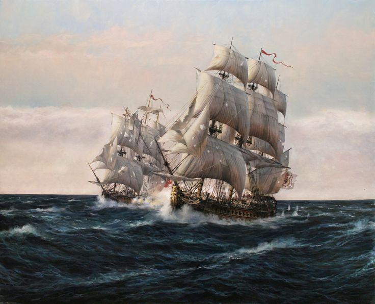 El nuevo cuadro de Augusto Ferrer-Dalmau, una maravilla de técnica y fidelidad a la maniobra naval