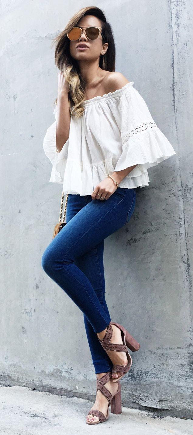 Zara Lazer Cut High Heel Sandal Zara Off The Shoulder Top L'Agence Chantal Vintage Skinny Jeans Saint Laurent Cassandre Monogramme Crossbody Bag ERA Arrow Chain Bangle