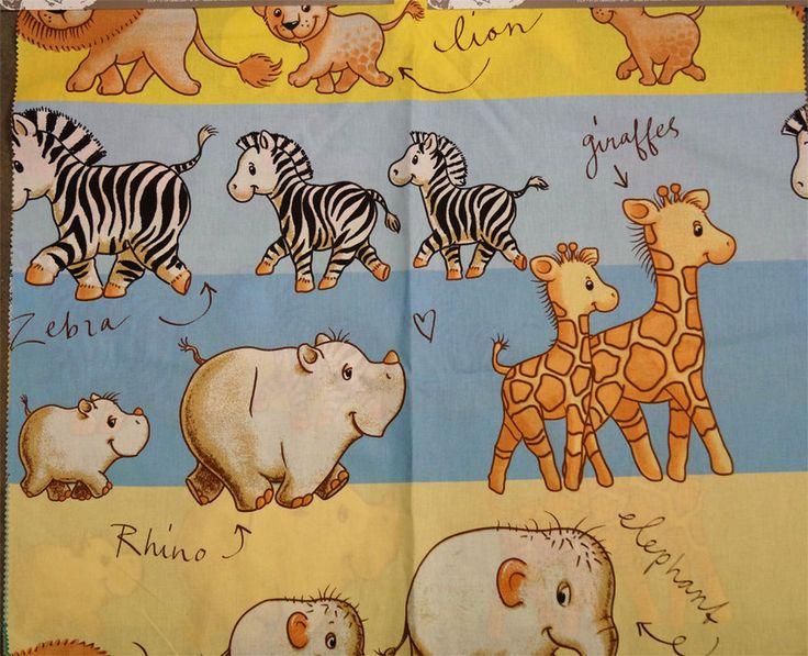 Kinderstof LS1791051 Tisafari cretonne lichtblauw/geel