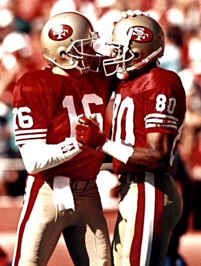 Joe Montana & Jerry Rice... Best QB ever and the best player ever Jerry!!