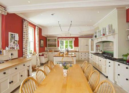 Cafeteria Sized Red Country Kitchen Dining Area Via Strutt Parker House