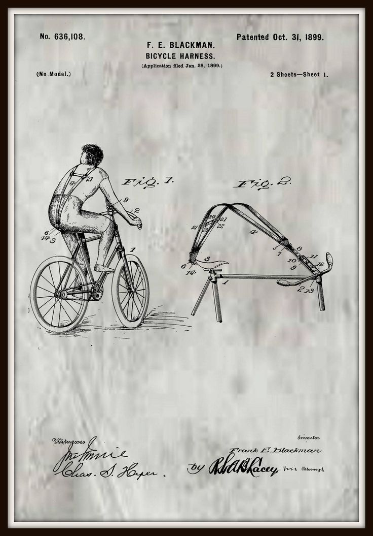 Bicycle Harness Patent #636,108 October 31, 1899. by RandSpatentprints on Etsy