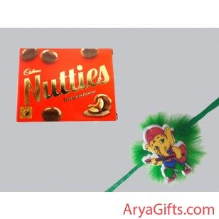 Send the best rakhi wishes to your dearest brother and show how much you will miss them on this Raksha Bandhan. Beautiful Bal Ganesh Rakhi and Cadbury Nutties Chocolates 30 gm.Rakhi design may differ as per the stock available. We offer free pack of Roli & Chawal along with Rakhis.