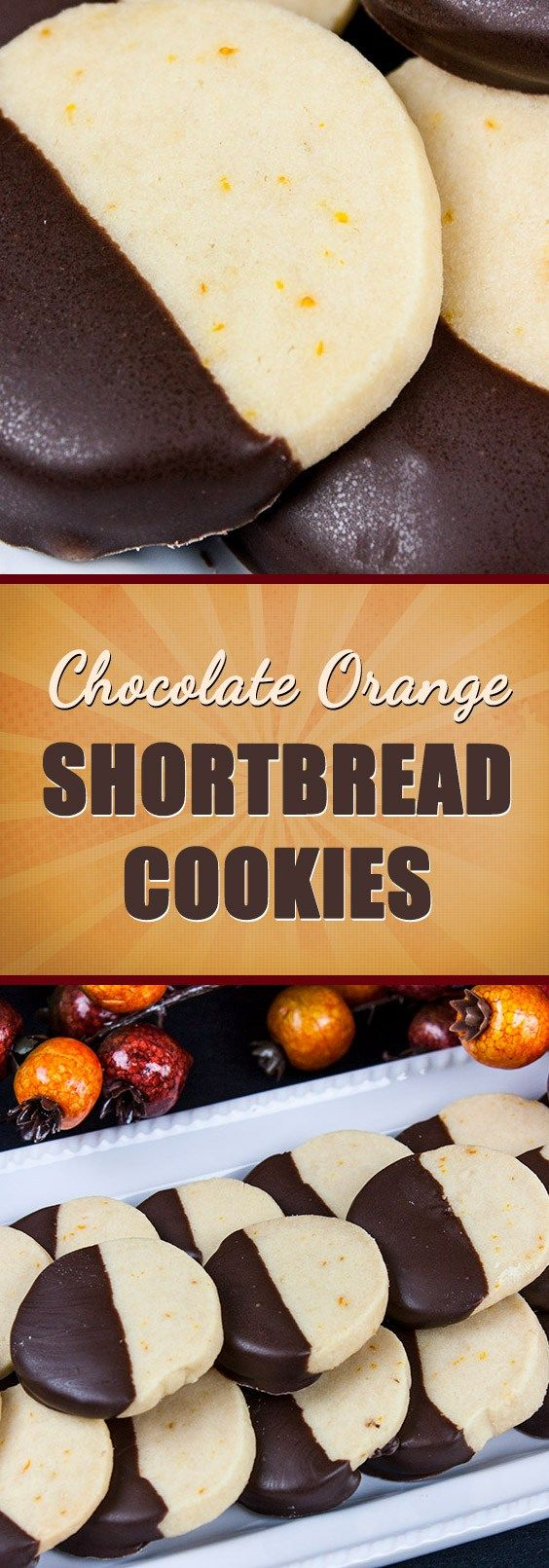 Chocolate Orange Shortbread Cookies - Melts in your mouth with their classic holiday flavor. Tender, buttery, orange flavored shortbread dipped in creamy, decadent dark chocolate.
