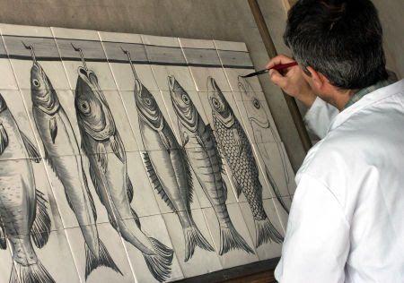 Pintura de Painel de Azulejos tradicional com oxido de cobalto (João Moreira)
