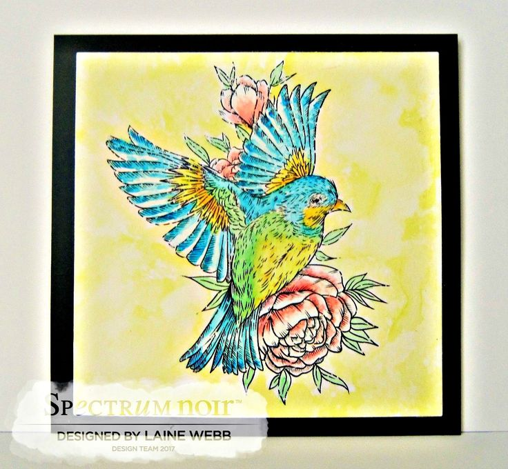 Made by Laine.  Stamps by Stacey Barras. Spectrum Noir Aqua markers used: Essentials: Spice, Lime, Moss, Nature: Sea Green, Kingfisher Primary: Aquamarine, Teal, Yellow, Gold Floral: Begonia, Blossom, Bud Green, Meadow.  #crafterscompanion #spectrumnoir
