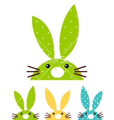 Cute patterned bunny set isolated on white vector 1263470 - by lordalea on VectorStock®