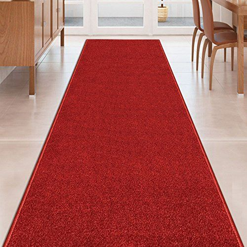 Custom Size RED Solid Plain Rubber Backed Non-Slip Hallway Stair Runner Rug Carpet 26 inch Wide Choose Your Length 26in X 13ft