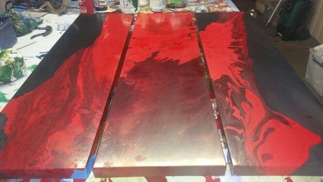 Red triptych