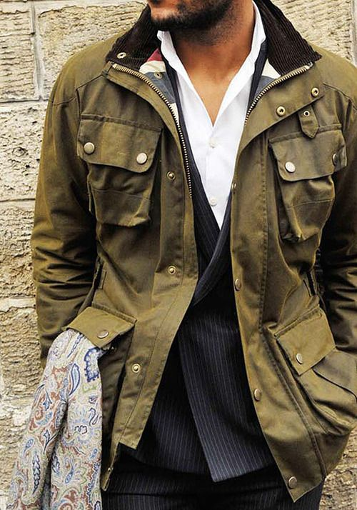.Great men's casual jacket. Love all the pockets. Variation on military field jacket.