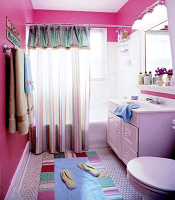 Teenage Girl Bathroom Ideas Kids Curtains Pink Accessories