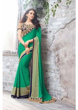 Green Smart Chiffon Saree, - £121.00, #IndianDresses #DesignerSaree #OnlineShopping #Shopkund