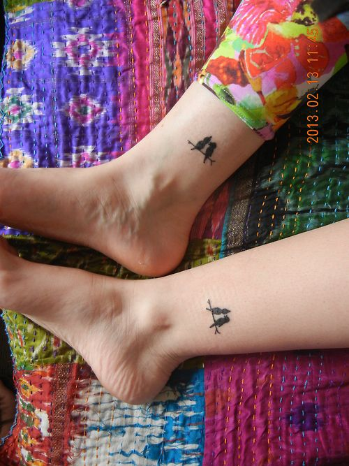 my twin sister and i got matching tattoo's on our 21st birthday. done at palace of pain in cleveland, queensland.