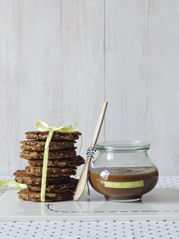 ANZAC Thins with Salted Caramel (gf). Recipe and photography by Claire Aldous.