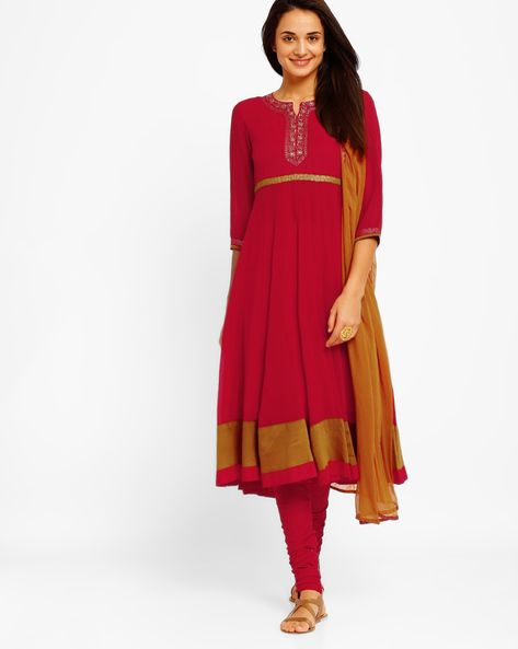 Buy Red AJIO Anarkali Churidar Kurta with Dupatta | AJIO