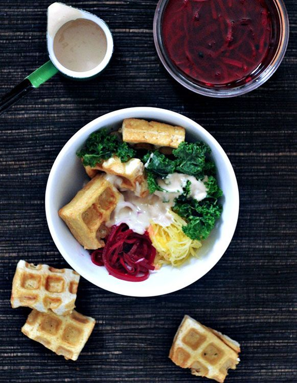 Tofu is a great, non-meat protein source that the kids will like if you cook it well... like in a waffle iron! Vibrant Spaghetti Squash Bowl with Smoky Waffled Tofu | Spabettie