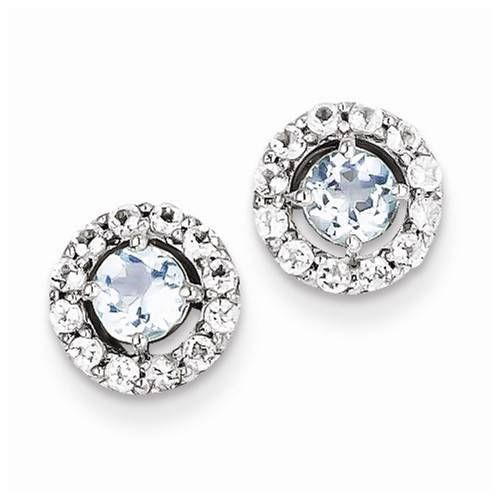 NEW 925 STERLING SILVER GENUINE ROUND BLUE AQUAMARINE & WHITE TOPAZ EARRINGS #Stud