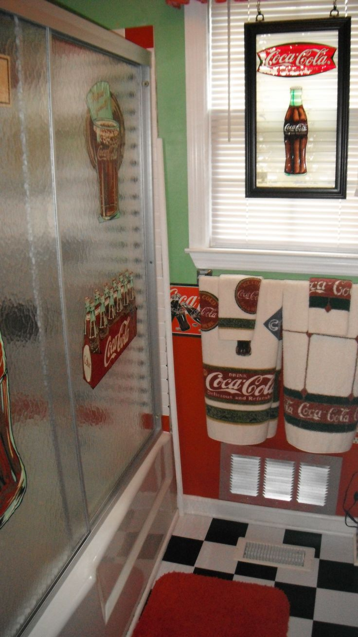100 ideas to try about coca cola room themes retro - Bathroom coca cola shower curtain ...