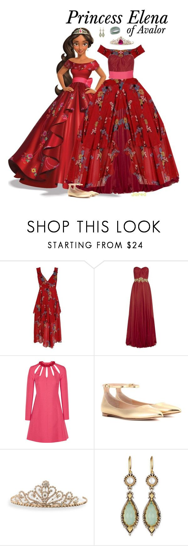 """""""Princess Elena of Avalor - Ballgown"""" by supercalifragilistica ❤ liked on Polyvore featuring Disney, Marchesa, Valentino, Gianvito Rossi, BillyTheTree and Konstantino"""