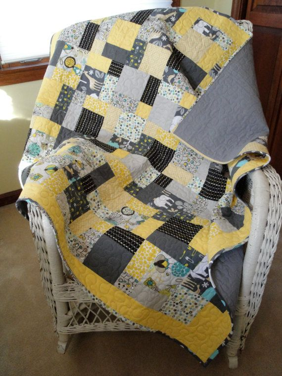Modern Gray And Yellow Baby Quilt