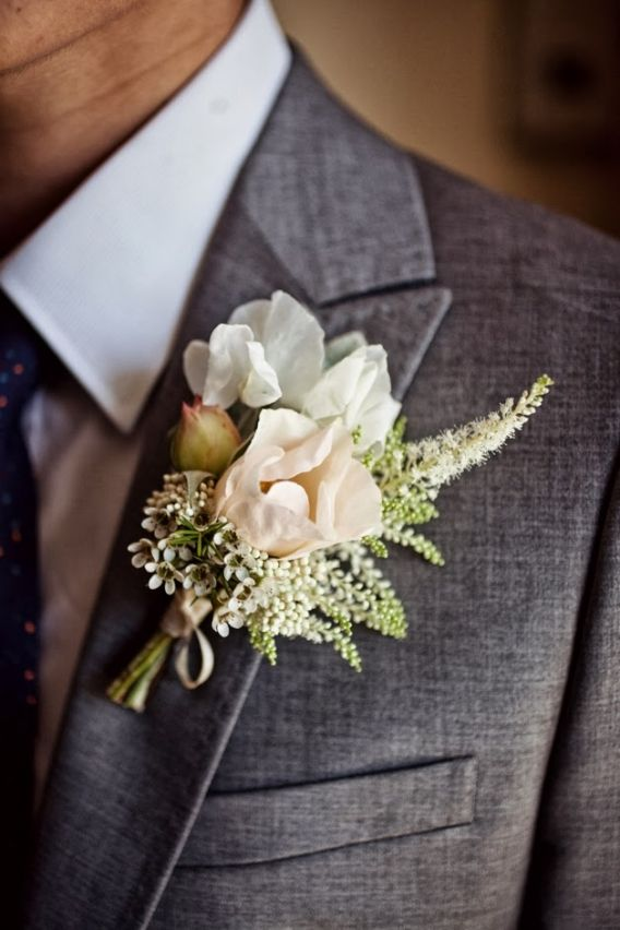 garden spray rose boutonniere astilbe sweet pea vintage wedding