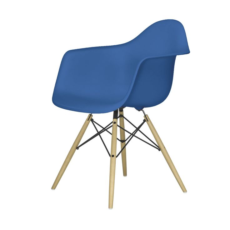 Unique Eames Plastic Armchair Stuhl DAW mit Kunststoffgleitern marine blau Ahorn Jetzt bestellen unter https moebel ladendirekt de kueche und esszimmer stuehle