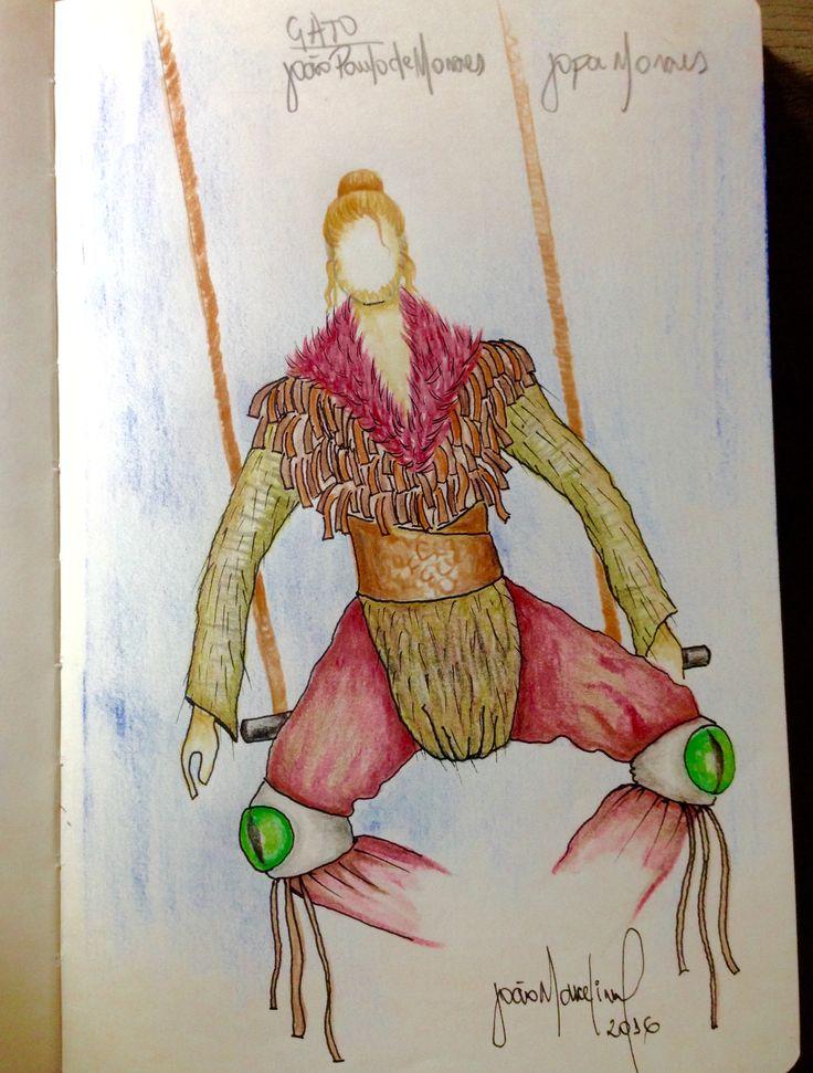 Cróqui sketch do figurino do Gato da peça Alice Através do Espelho, da Armazém Cia de Teatro.  Direção de Paulo de Moraes. Da obra de Lewis Carrol.