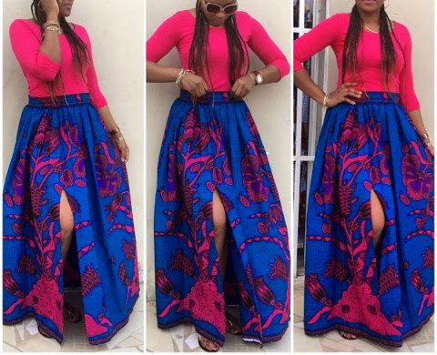 Ankara Maxi skirt with pockets African print skirt by FashAfrique