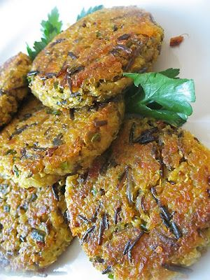 Savory Vegan Curried Quinoa and Wild Rice Cakes