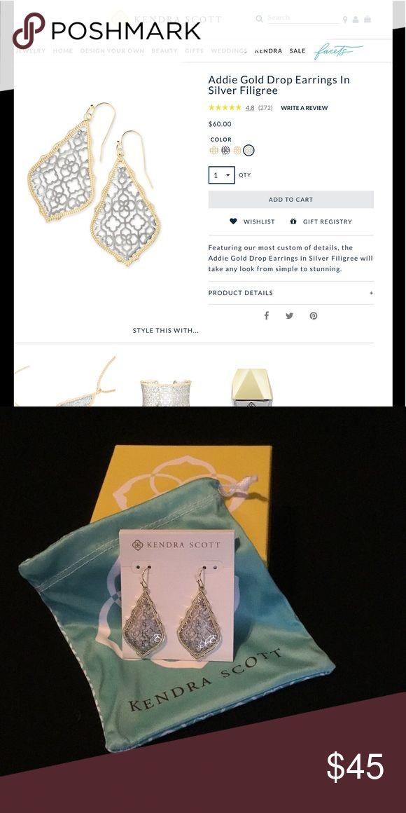 Kendra Scott Addie Drop Earrings  Brand new Kendra Scott Addie drop earrings! Gold posts and frame, silver filigree. Never worn. 15% off Kendra Scott coupon included! Kendra Scott Jewelry Earrings