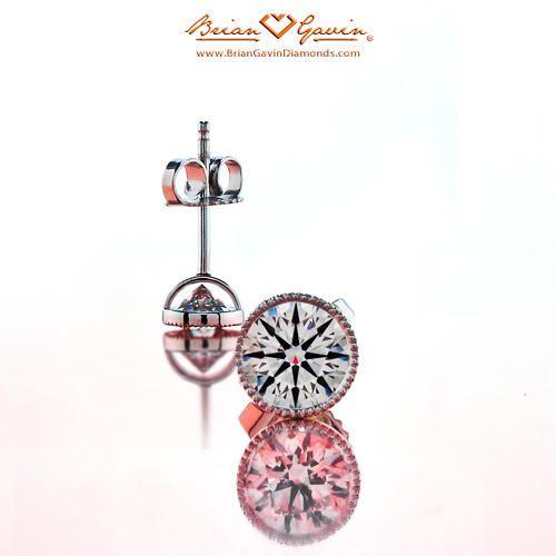 18K White Gold Handmade Milgrain Bezel Studs , Studs Diamond Earring, Buy Diamond Earrings.