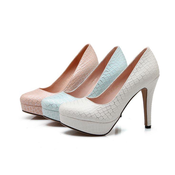 Crocodile Pattern Women Pumps High Heels Dress Shoes Plus Size