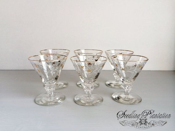 Vintage Gold Cocktail Glass Champagne Glass by seedlingplantation