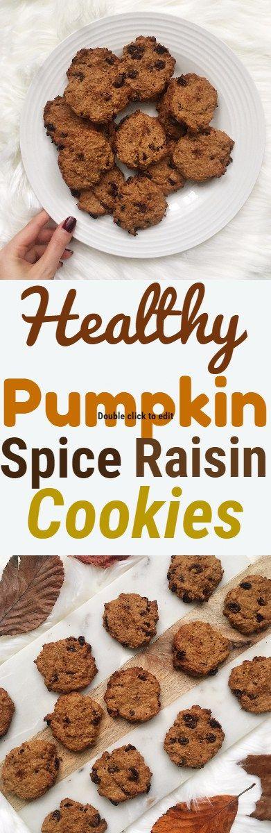 Healthy Pumpkin Spice Raisin Cookies #cookies #healthycookies #pumpkinspicecookie #autumnrecipes #fallrecipe #vegancookies #raisincookie #glutenfreecookie