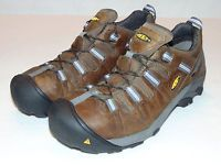 NEW KEEN DETROIT LOW ESD MENS MEDIUM DARK BROWN STEEL TOE SHOES BOOTS Sz 13