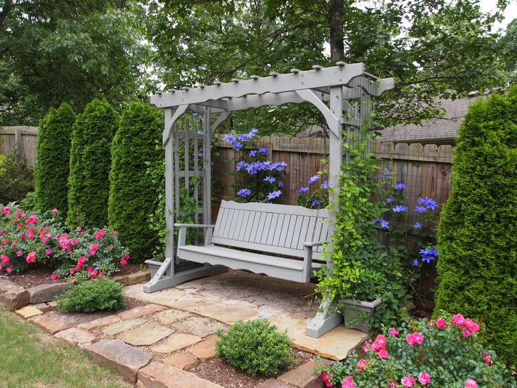 Arbor Swing On West Fence Fuji Masume Clematis Growing