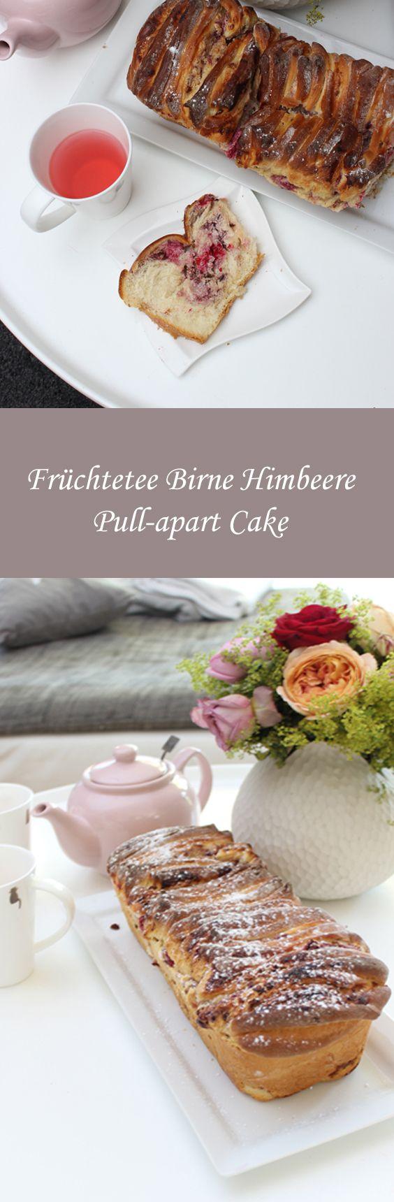 Wie wäre es mit einem Früchtetee Birne Himbeere Pull-apart Cake?