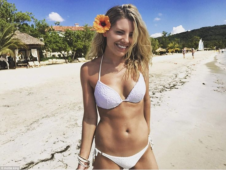 Mollie King, pictured on the beach at the Sandals South Coast resort at Bluefields Bay in sunny Jamaica, where she escaped for fun-filled getaway