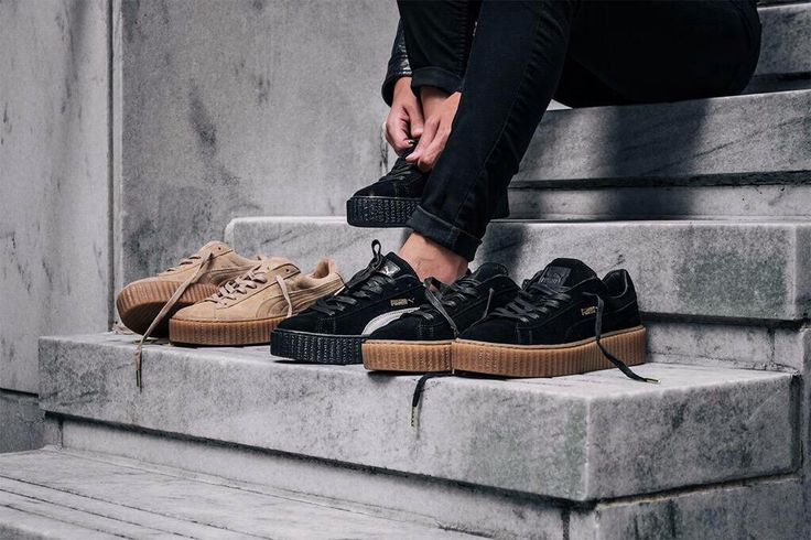 puma by rihanna creepers sneakers white and oatmeal colors