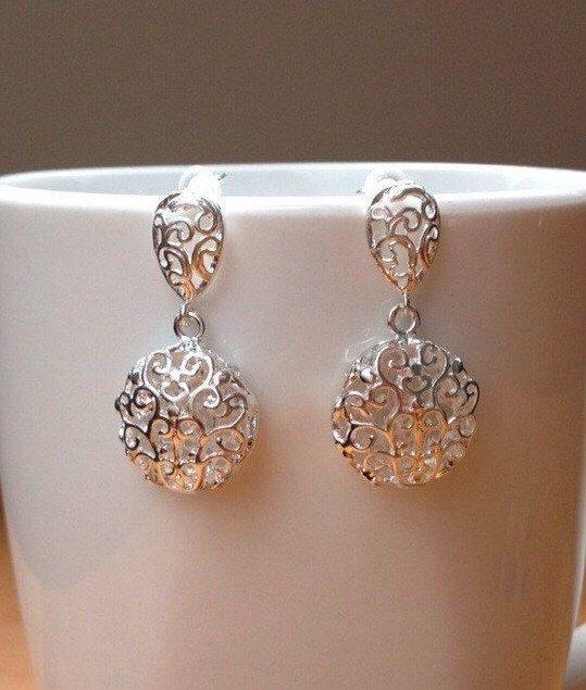 Round silver filigree earrings by PetalJewels on Etsy