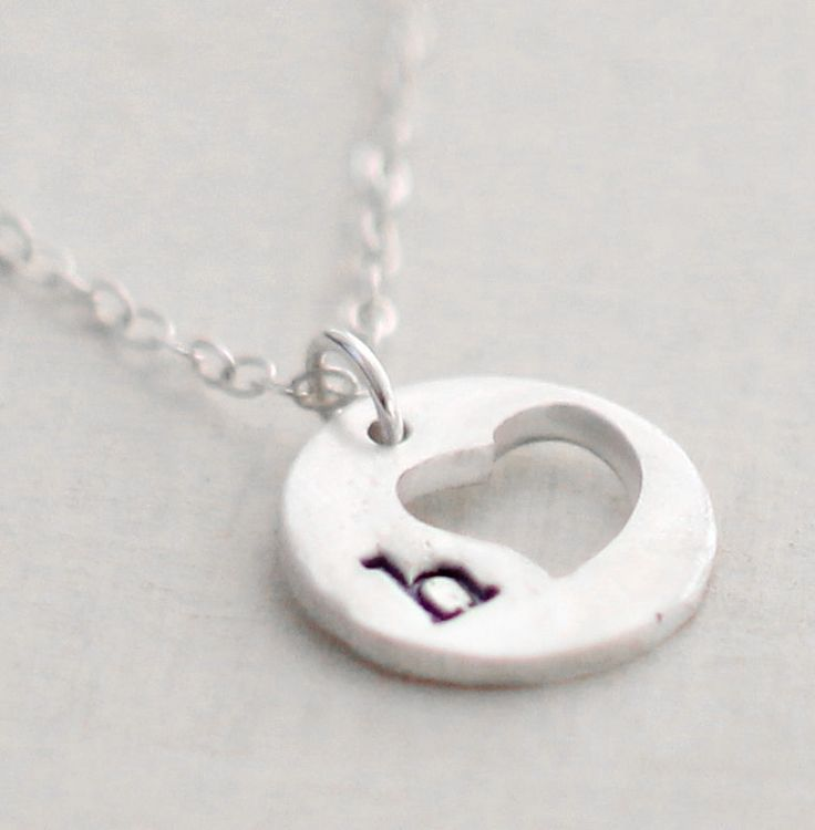 Heart Initial Necklace Cut out Heart Sterling Silver Disc Personalized Necklace Initial Jewelry Personalized Jewelry. $32.00, via Etsy.