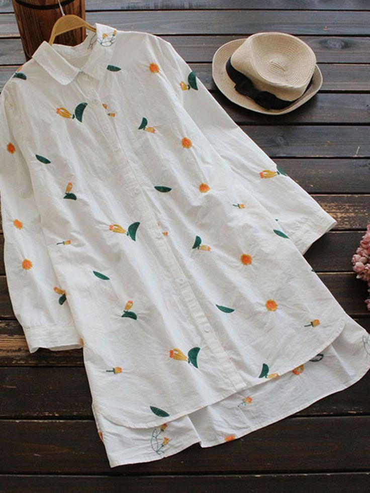 Casual Stripe Irregular Lapel Long Sleeve Blouses For Women Cheap - NewChic Mobile
