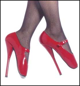 Bondage Fetish Store: Mary Jane Ballet Shoes.   These Mary Jane Style Ballet shoes will surely keep you on your toes. These 7 inch heels shoes come in black leather, black patent leather, red patent leather, and white patent leather.