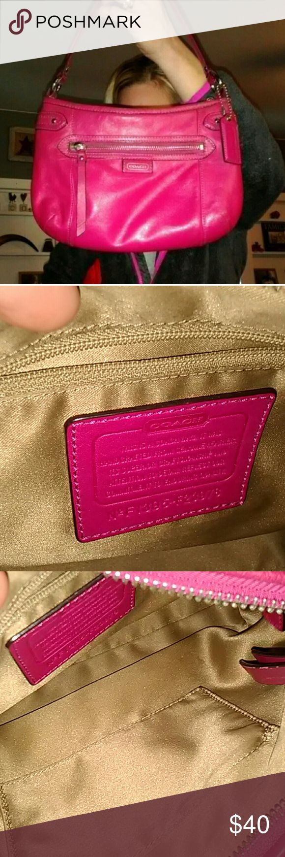 Bright Pink Coach Leather Purse Really bright pink Perfect size bag, zipper works fine Pink hangtag Inside is super clean  Outside has light use adorable bag Ships quick Smoke free home Coach Bags Shoulder Bags