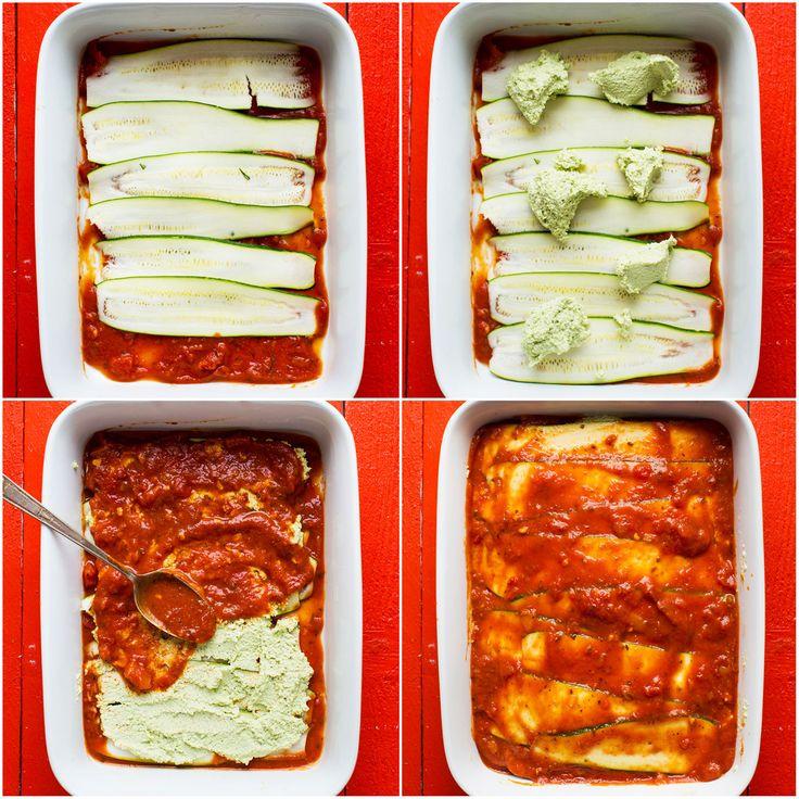 Vegan zucchini lasagna. Prefer Tofu ricotta. Try with eggplant.