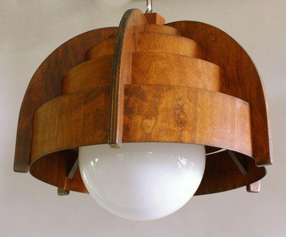 mid century modern teak lamp.