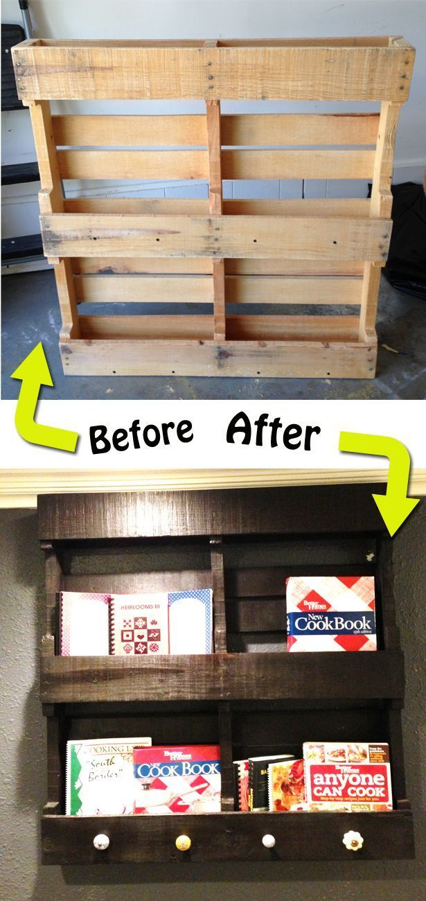 Brilliant! and beautiful! DIY Cook book shelf ~ using pallet. :)