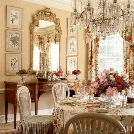 Beautiful table setting with pink beige and white.  Chrystal chandelier vintage buffet floral fabric  shabby romantic cottage
